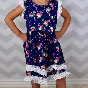 Other - Mini Rosed on Navy Boho Dress with Crocheted Lace